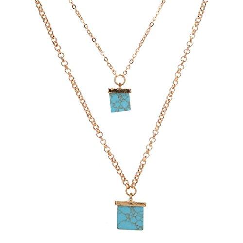 TOPUNDER Women Multiple Layers Charm Necklace Jewelry Statement Bib Pendant Chain (Badge Pendant)