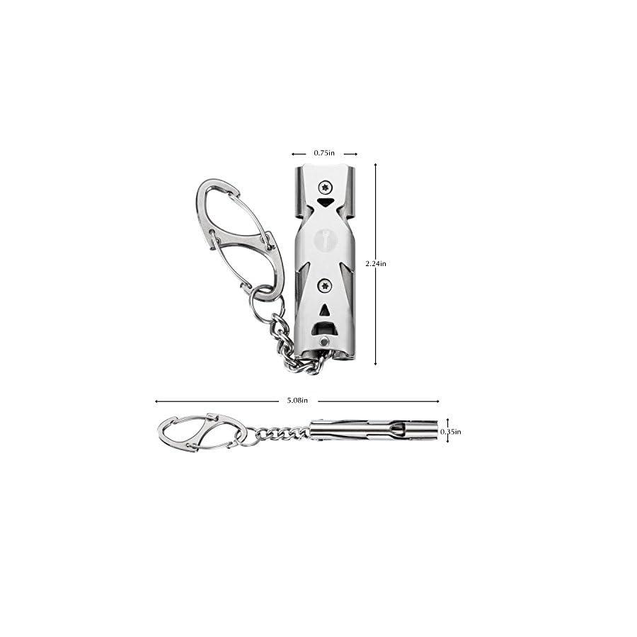 WINGOO Emergency Whistle Stainless Steel Double Tubes High Decibel EDC Outdoor Tool Lifesaving Whistle