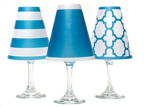 di Potter WS137 Nantucket Paper White Wine Glass Shade, Isle Blue (Pack of 6) by di Potter