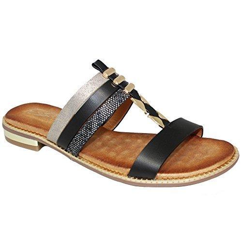 Fantasia Boutique JLH905 Bellini Flat Strap Cushion Insole Synthetic Leather Mule Style Sandals Black