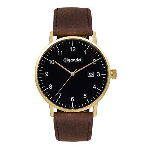 Gigandet Men's Quartz Watch Minimalism Analog Leather Strap Golden Brown G26-002