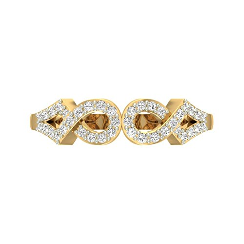 Or jaune 18K 0,27CT TW Round-cut-diamond (IJ   SI) en diamant