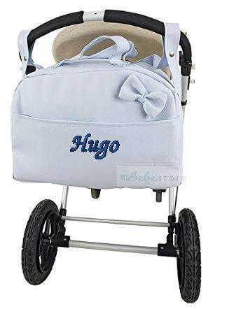 mibebestore - Bolso Polipiel Carrito Bebe Personalizado con nombre bordado Lazo CELESTE - Nombre bebé bordado