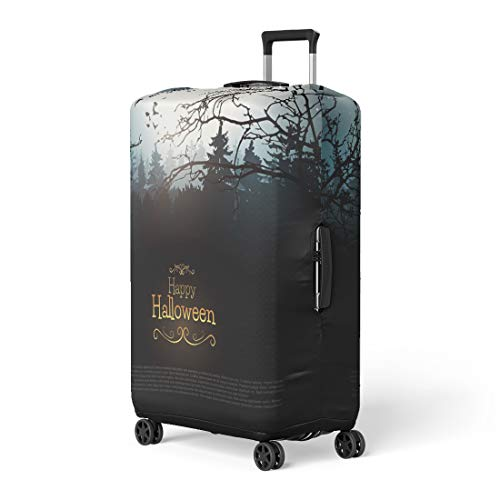 Pinbeam Luggage Cover Horror Halloween Creepy Forest Bats and Full Moon Travel Suitcase Cover Protector Baggage Case Fits 18-22 -
