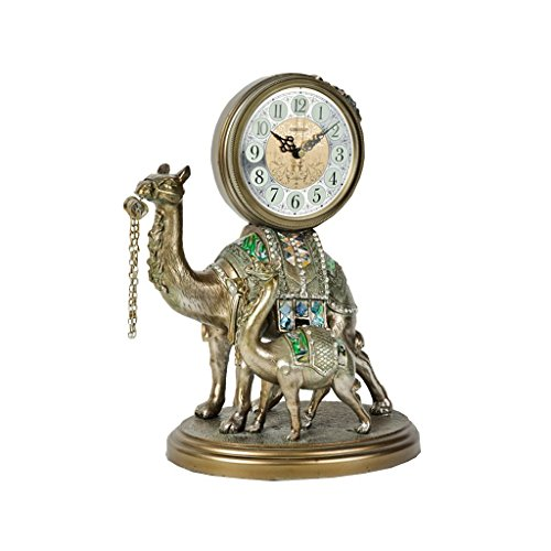 Health UK Clock- Clock Resin Camel Carved 3D Modeling Ivory White Color Romantic Mute Classical Porch Sitting Bell Welcome (Color : Antique copper) by ZAZAZA