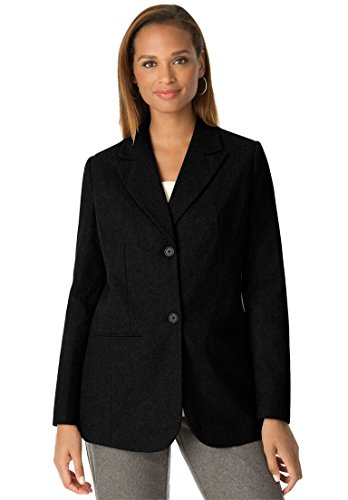 Jessica London Women's Plus Size Tall Wool Blazer With Notch Collar Midnight