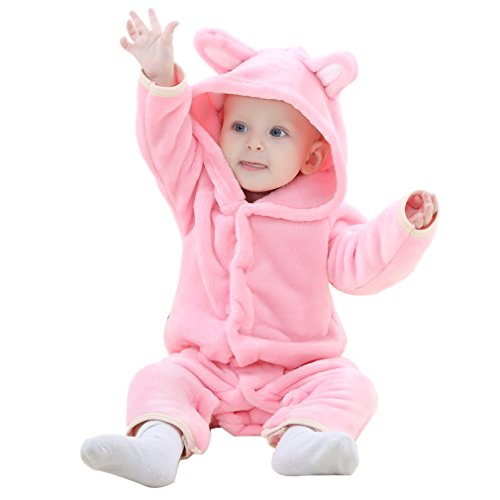 IDGIRL Baby Bear Costume, Animal Newborn Cosplay Pajamas for Girl Winter Flannel Romper Outfit 3-6 Months, Pink One Piece