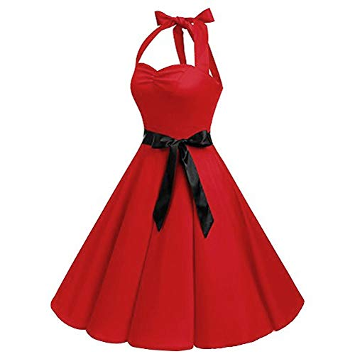 Price comparison product image 2019 Women Sleeveless Dress with Belt, Ladies Girls Chiffon Hepburn Vintage Swing High-Waist Dress (4XL,  Red)