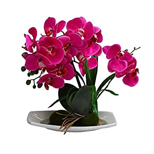 U'Artlines Artificial Phalaenopsis Bonsai Fake Flower Real Touch Butterfly Orchid with White Vase for Table Office Home Party Decoration 78