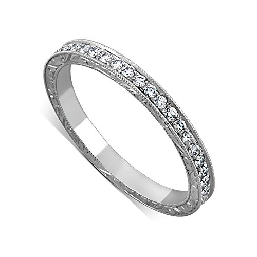 Hand Engraved Crafted Eternity Pave Set Diamonds Straight Milgrain Wedding Band Platinum 950 2.1 mm Wide - Platinum Milgrain Pave