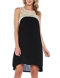 Vasna Women's Crochet Neckline Summer Trapeze Dress (Plus Size Available)