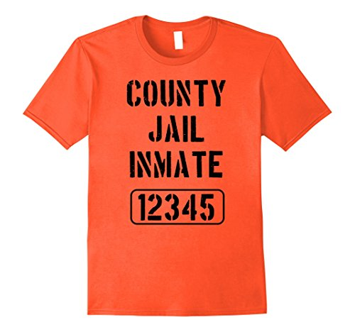 County Jail Inmate Costume (Mens Prisoner Costume Tshirt | County Jail Inmate Tee Large Orange)