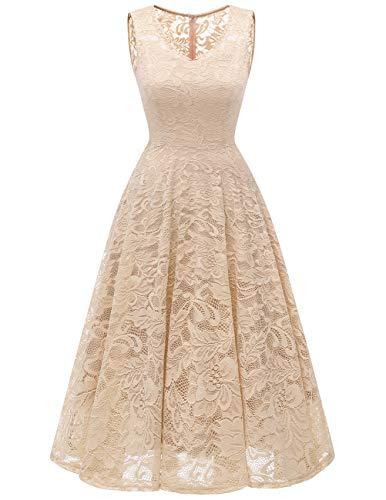 Meetjen Women's Cocktail V-Neck Dress Floral Lace Tea-Length Bridesmaid Party Dress Midi Champagne XS