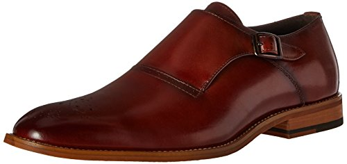STACY ADAMS Men's Dinsmore Plain Toe Monk Strap Slip-On Loafer, Cognac, 10 M US