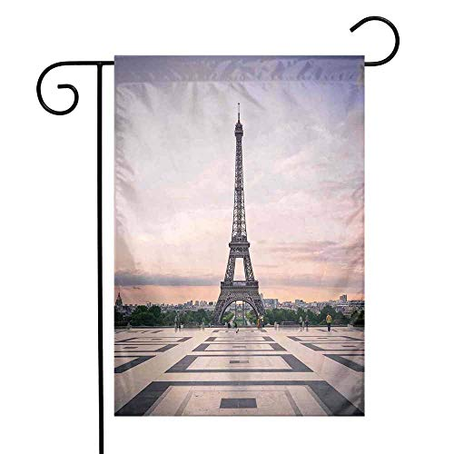 Mannwarehouse Paris City Decor Garden Flag Trocadero and Eiffel Tower at Sunshine Paris Skyline Historic Landscape View Premium Material W12 x L18 - Ohio State Historic Football