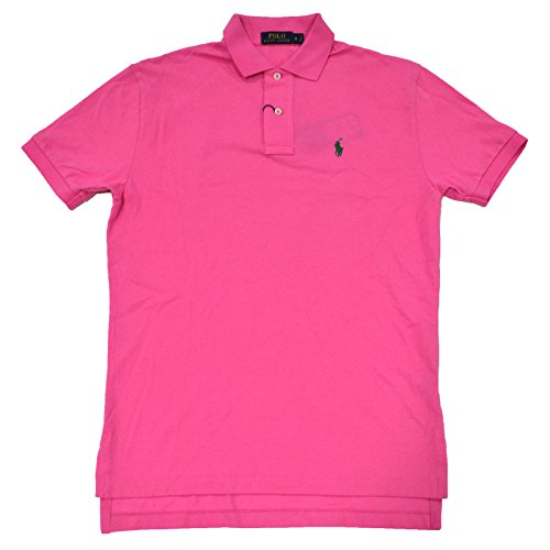 Green Pink Pony (Polo Ralph Lauren Mens Classic Mesh Polo Shirt (Polo Pink Green Pony, Small) )