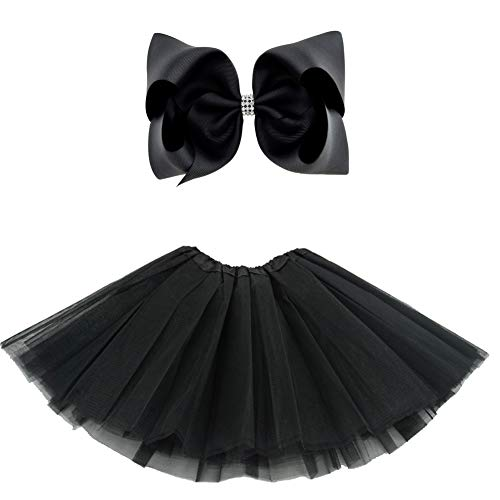 BGFKS 5 Layered Tulle Tutu Skirt for Girls with Hairbow and Hairties, Ballet Dressing Up Kid Tutu Skirt (Black, 2-8 Years Old) -