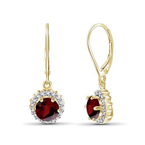 1.60ctw Genuine Garnet Gemstone and White Diamond Accent 14k Gold Over Silver Drop Earrings