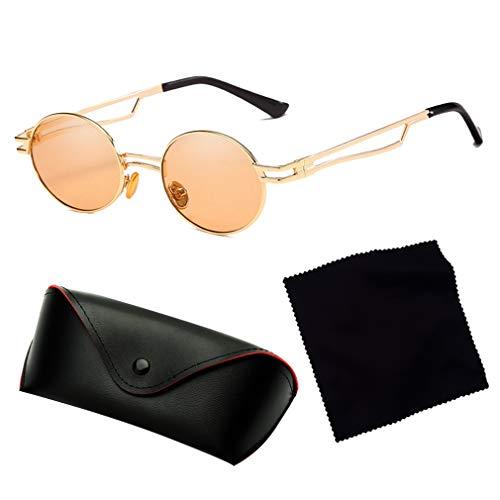 Fashion Retro Shades Or Lunettes Uv400 Soleil Qiansu Vintage Femmes thé 80s90s De Rondes Eyewear Hommes n8wnWB0zq