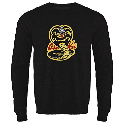Cobra Kai Karate Dojo Halloween Costume Vintage Retro 80s Apparel Movie Black L Mens Fleece Crew Neck Sweatshirt