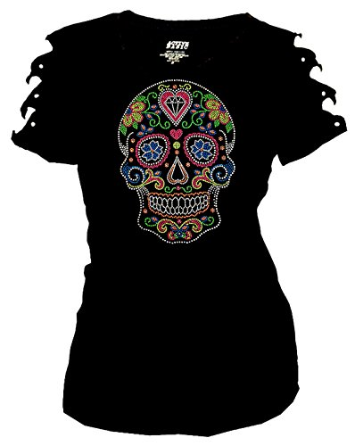 Bling Sugar Skull Rhinestone T-Shirt,Heart Neon Stud Ripped Cut Out Short (Large)