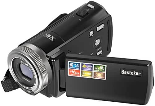 Camera Camcorders, Besteker Portable Digital Video Camcorder HD Max 16 Mega Pixels 1280*720P DV 2.7 Inches TFT LCD Screen 16X Zoom Camera Recorder (108-Black)
