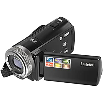 Camera Camcorders, Besteker Portable Digital Video Camcorder HD Max 16 Mega Pixels 1280*720P DV 2.7 Inches TFT LCD Screen 16X Zoom Camera Recorder (108-Black)