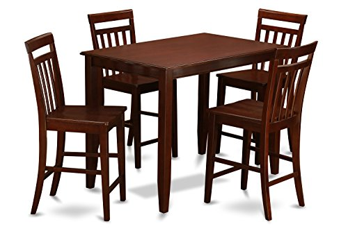East West Furniture BUEW5-MAH-W 5-Piece Pub Table Set, Mahogany Finish - Laminate Pub Table