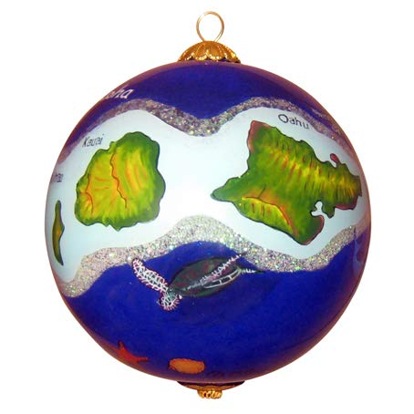 Maui By Design Hawaiian Islands Collectible Hand Painted Glass Ornament with Gift Box ()