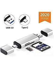 Onvian SD Card Reader, Aluminum USB 3.0 Type C Memory Card Reader OTG Adapter for SDXC, SDHC, SD, MMC, RS-MMC, Micro SD, TF, Micro SDXC, Micro SDHC, UHS-I Card