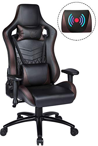 Gaming Chair Racing Style Office Chair Swivel Computer Gamer Chair with Fully Foam, Esports Video Game Chair, Comfortable PU with Lift Headrest and Massage Lumbar Support (Chair Plaid Swivel)