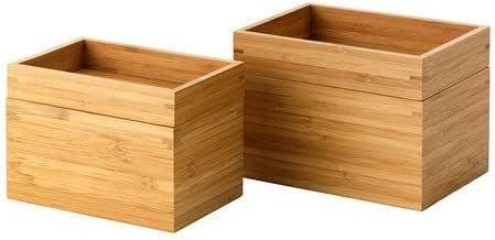 IKEA DRAGAN Juego de 2 cajas de bambú