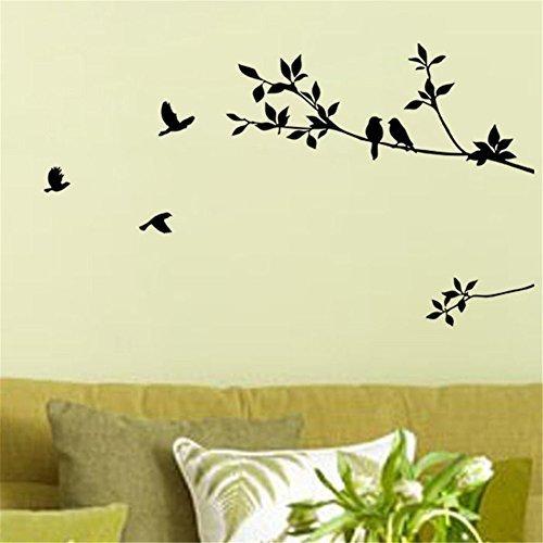 Birds Flying Black Tree Branches Wall Sticker Vinyl Art Deca