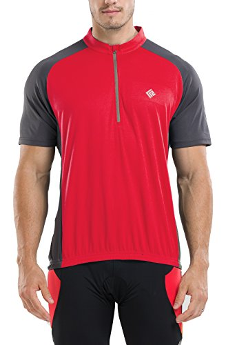 KORAMAN Men's Reflective Short Sleeve Cycling Jersey with Zipper Pocket Quick-Dry Breathable Biking Shirt (Red, XL(Chest 45.28