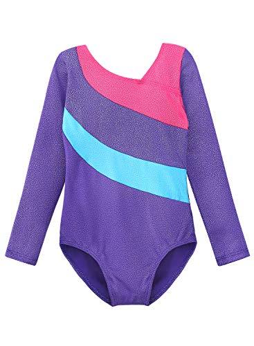 Long-Sleeve-Leotards-for-Girls-Gymnastics-Ballet-Dance-Outfit-Sparkle-Stars-Black-Blue