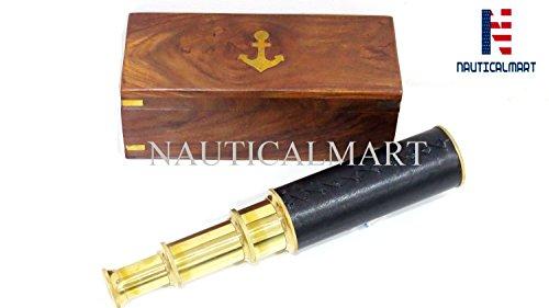 NAUTICALMART Handheld Brass Pirate Navigation Telescope with Wooden Box (14'') by NAUTICALMART