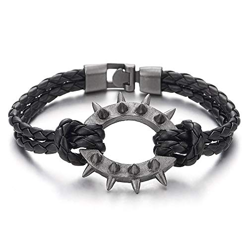 COOLSTEELANDBEYOND Men Women Two-Row Black Braided Leather Bangle Bracelet Wristband Grey Spiked Rivets Oval Charm