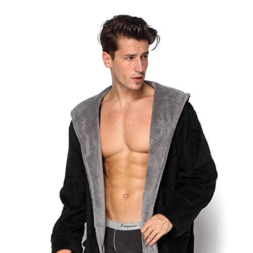 aa402efa0c COSMOZ Black Bathrobe Drowsy Cloud Soft Spa Kimono Grey Shawl Collar Hooded  Long Robe