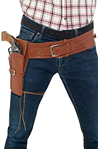 Smiffy Adult Faux Leather Single Holster with Belt (Tan)-