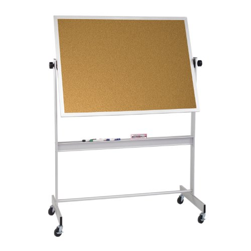 Cork Deluxe Reversible Board - Deluxe Reversible Mobile Bulletin Board, 4' H x 8' W