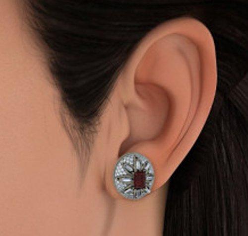 Or blanc 18K-10087163-CT TW Round-cut-diamond (IJ | SI) et grenat Boucles d'oreille à tige
