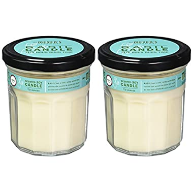 MRS MEYERS Soy Candle Large, Basil, 7.2 Ounce (Pack of 2)