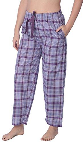 (Beverly Rock Women's Cotton Blend Plaid Woven Lounge PantsAvailable in Plus Size WLL01_18 Purple 2X)