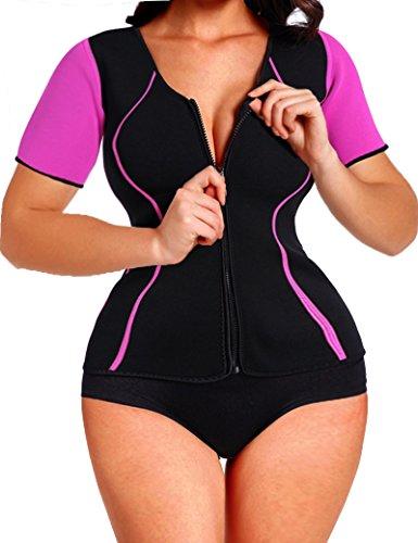 Lelinta Neoprene Sauna Suit - Sauna Tank Top Vest with Adjustable Shaper Trainer Belt, Black & Red, Medium