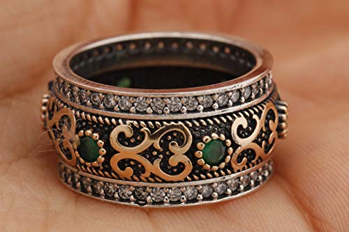 Handmade Turkish Authentic Jewelry Round Shape Cut Emerald Topaz 925 Sterling Silver Band Ring for Gift for Ladies Size Options