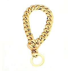 "Ubeauty1999 15mm Curb Cuban Link Gold Tone 316L Stainless Steel Dog Choke Chain Collar Pet Necklace Leash 12""-34"""
