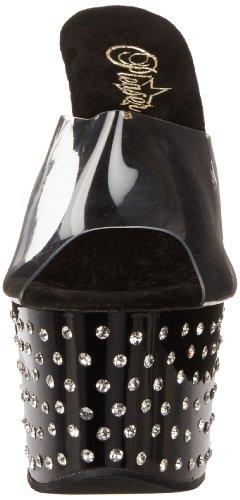 Mujer Sandalias Clear Pleaser de 701 Black Stardust Negro cuña n4qAnXEx