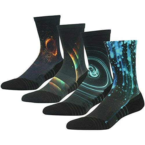 HUSO Men's Women's Novelty Galaxy Printing All Season Moisture Control Running Crew Socks 4 Pairs (Multicolor, L/XL) by HUSO