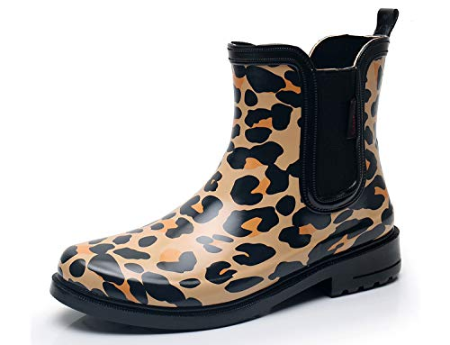 Leopard Print Snow Boots - SOLARRAIN Women's Elastic Short Ankle Rubber Rain Boots Non Slip Waterproof Insulated Leopard Print Rain Shoes (9M US, Yellow)