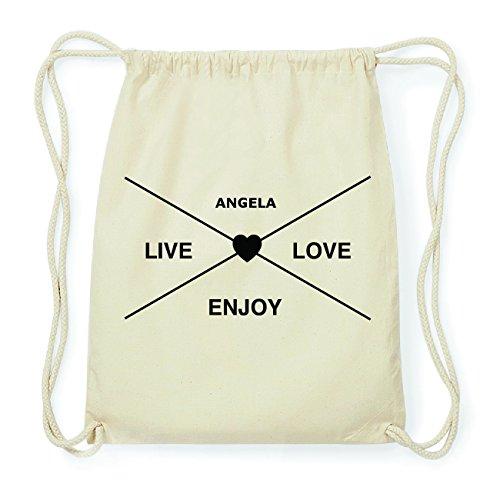 JOllify ANGELA Hipster Turnbeutel Tasche Rucksack aus Baumwolle - Farbe: natur Design: Hipster Kreuz